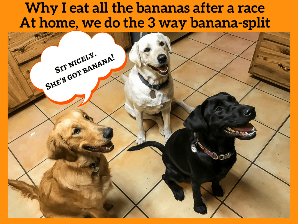 Why I eat all the bananas after a raceAt home, we do the 3 way banana-split
